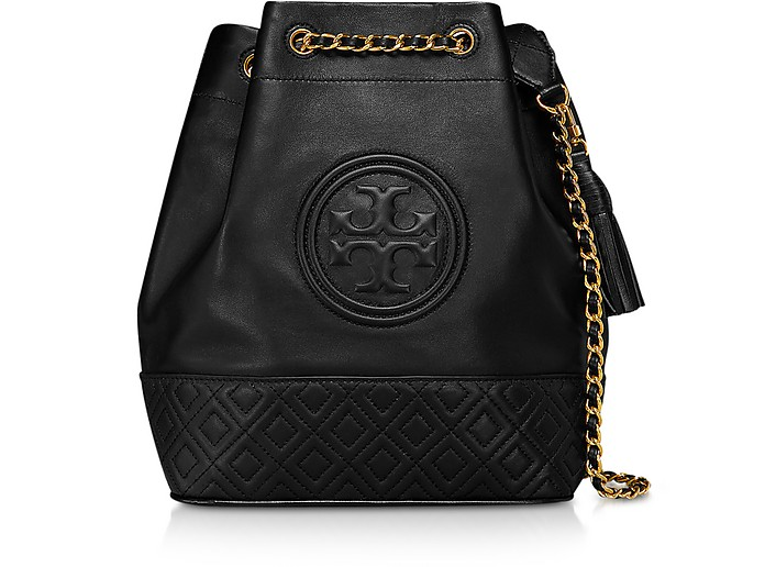 Black Leather Fleming Bucket Bag - Tory Burch