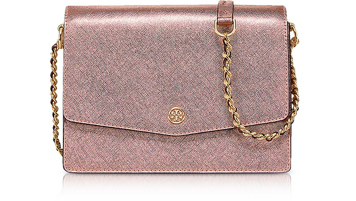 Metallic Light Rose Gold Robinson Metallic Convertible Shoulder Bag  - Tory Burch