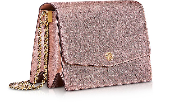 878f9dcb25 Tory Burch Metallic Light Rose Gold Robinson Metallic Convertible Shoulder  Bag at FORZIERI