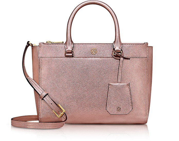 Light Rose Gold Saffiano Leather Robinson Metallic Small Double-Zip Tote - Tory Burch