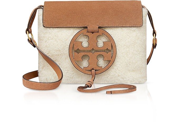 Festival Brown Shearling and Leather Miller Crossbody Bag - Tory Burch