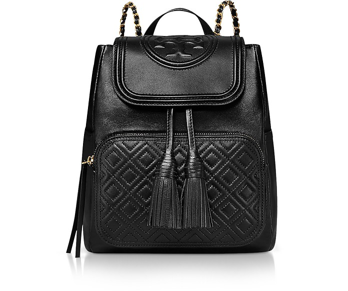 Black Quilted Leather Fleming Backpack - Tory Burch