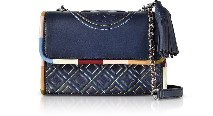 Navy Blue w/Multicolor Piping Fleming Small Shoulder Bag - Tory Burch