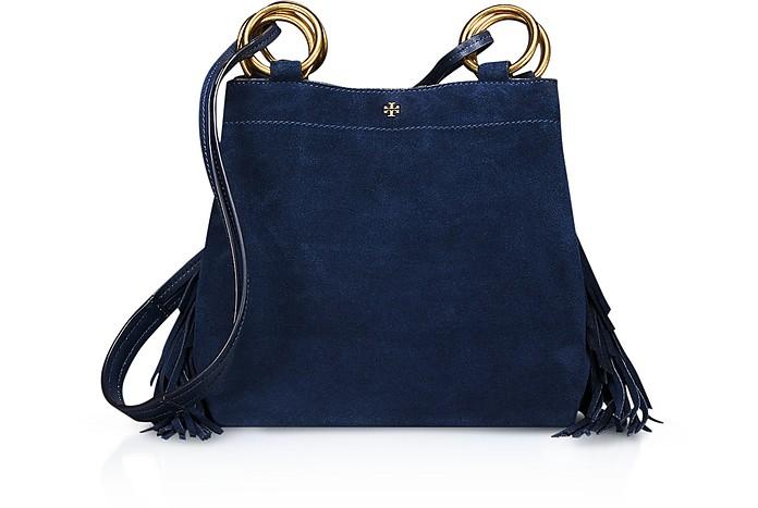 cbca409ec0c Tory Burch Royal Blue Farrah Fringe Mini Bag at FORZIERI UK