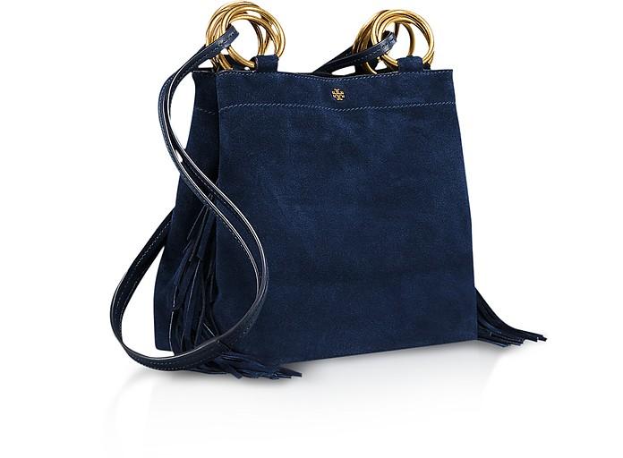 a2151610625 Tory Burch Royal Blue Farrah Fringe Mini Bag at FORZIERI UK