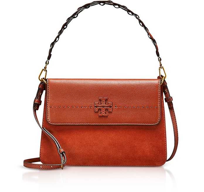 a2e85a61742c Tory Burch McGraw Desert Spice Leather Shoulder Bag at FORZIERI