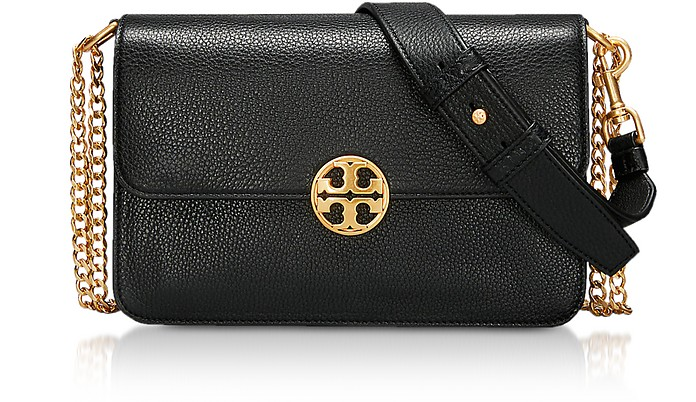 f12107254900 Tory Burch Black Leather Chelsea Convertible Shoulder Bag at FORZIERI