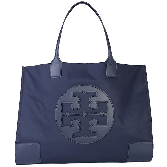 Ella Blue Navy Nylon & Leather Tote Bag - Tory Burch