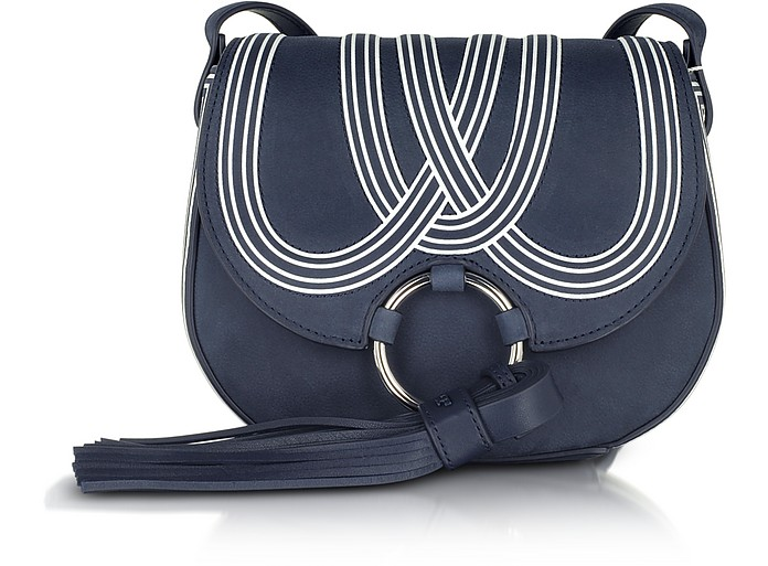 44bccc291aad09 Tory Burch Tassel True Navy Leather Mini Saddle Bag at FORZIERI