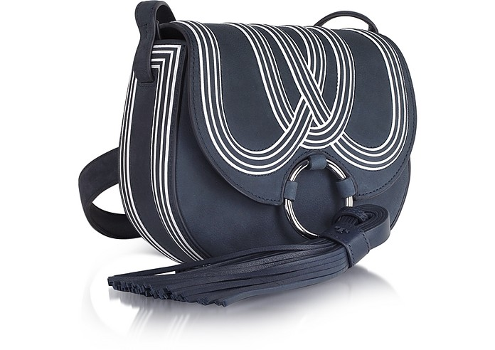 cbd834ccb78997 Tory Burch Tassel True Navy Leather Mini Saddle Bag at FORZIERI UK