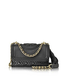 Fleming Black Leather Micro Shoulder Bag - Tory Burch