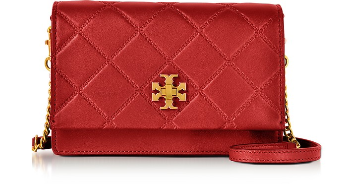 5bbb770ec6a Tory Burch Red Georgia Leather Turn-Lock Mini Crossbody Bag at ...