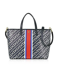 Gemini Link Navy Coated Canvas Small Tote Bag - Tory Burch