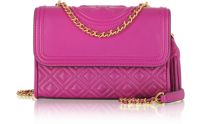 Fleming Party Fuchsia Leather Small Convertible Shoulder Bag - Tory Burch fbbe53487c172