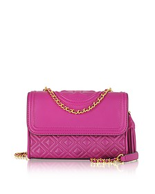 Fleming Party Fuchsia Leather Small Convertible Shoulder Bag - Tory Burch