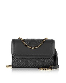 Fleming Black Leather Small Convertible Shoulder Bag - Tory Burch