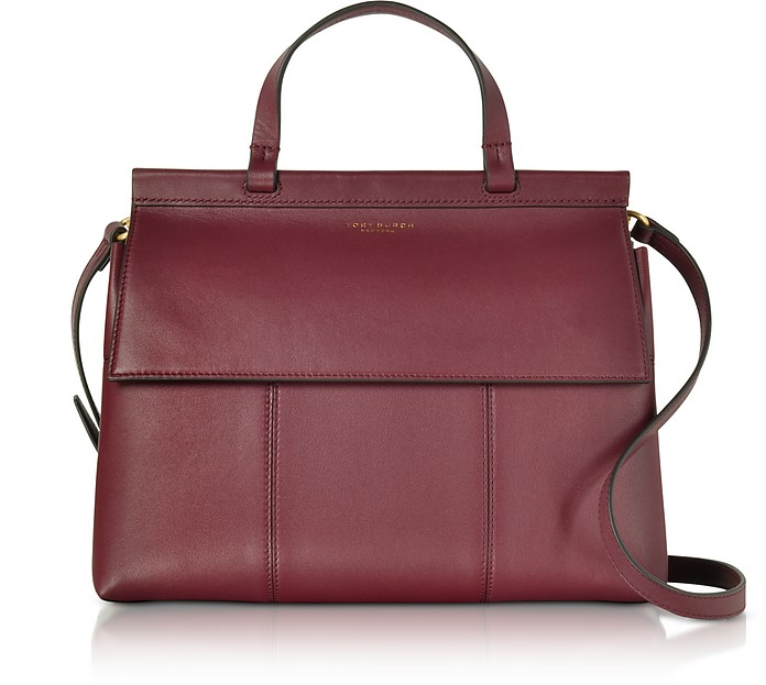 Imperial Garnet/Deep River T Leather Top Handle Satchel  - Tory Burch