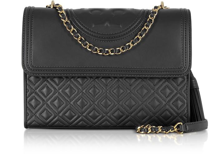 Fleming Black Leather Convertible Shoulder Bag - Tory Burch