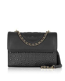 Fleming Black Leather Convertible Shoulder Bag - Tory Burch
