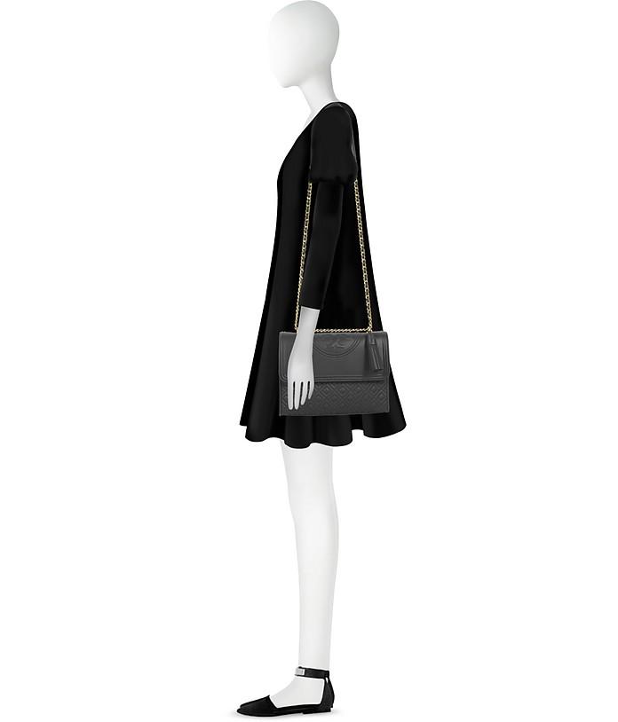 a8a977047a5 Fleming Black Leather Convertible Shoulder Bag - Tory Burch.  508.00 Actual  transaction amount