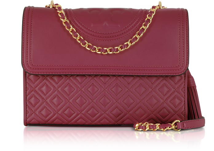 Fleming Imperial Garnet Leather Convertible Shoulder Bag - Tory Burch
