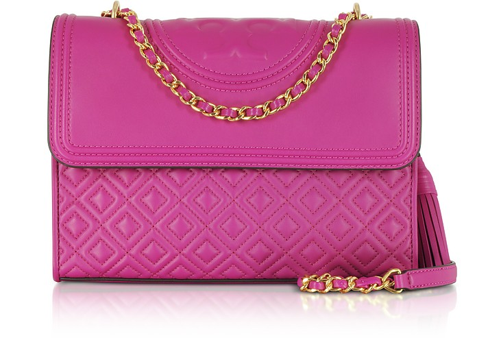 Fleming Party Fuchsia Leather Convertible Shoulder Bag - Tory Burch