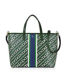 Gemini Link Green Coated Canvas Small Tote Bag - Tory Burch