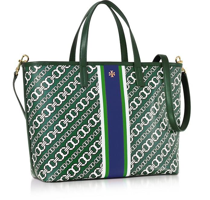 b51d890c658 Tory Burch Gemini Link Green Coated Canvas Small Tote Bag at FORZIERI UK