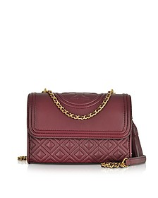 Fleming Imperial Garnet Leather Small Convertible Shoulder Bag - Tory Burch