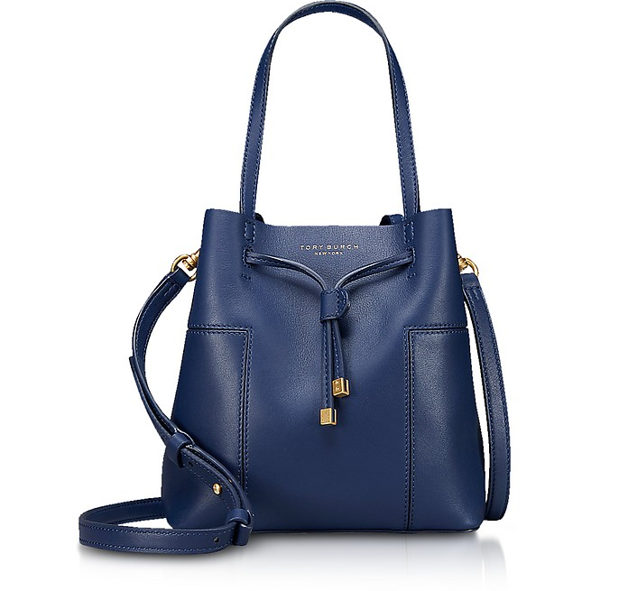 Royal Navy Leather Block-T Small Bucket Bag - Tory Burch