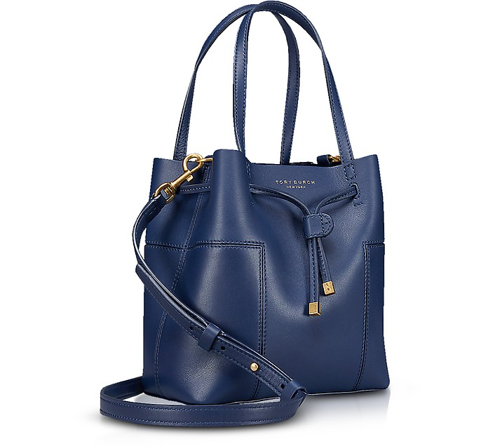 85594d0f7e Tory Burch Royal Navy Leather Block-T Small Bucket Bag at FORZIERI