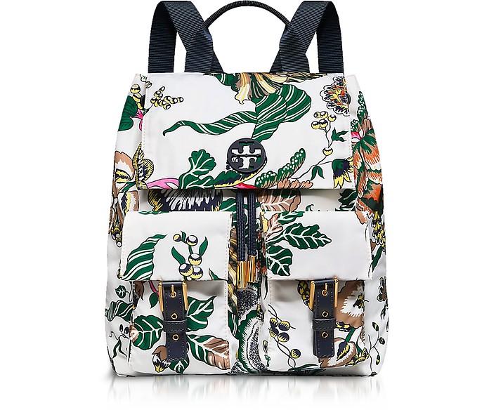 Tilda Ivory Happy Times Printed Nylon Flap Backpack - Tory Burch