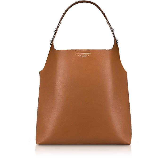 50d258a7fc65 Tory Burch Rory Light Umber Leather Tote Bag at FORZIERI