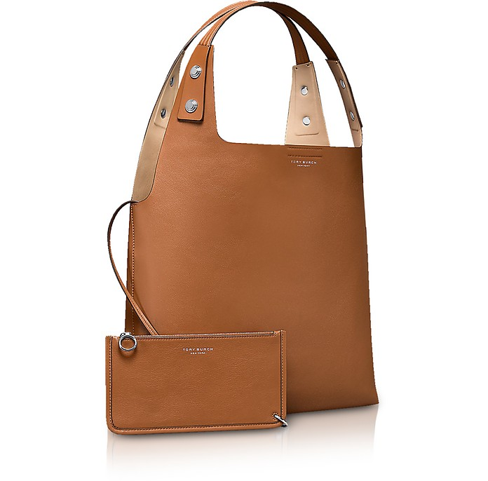 Tory Burch Rory Light Umber Leather Tote Bag at FORZIERI 3b3c4ae2ff