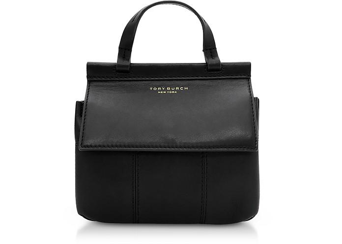 faa9427043b Tory Burch Black Genuine Leather Block-T Mini Satchel Bag at FORZIERI