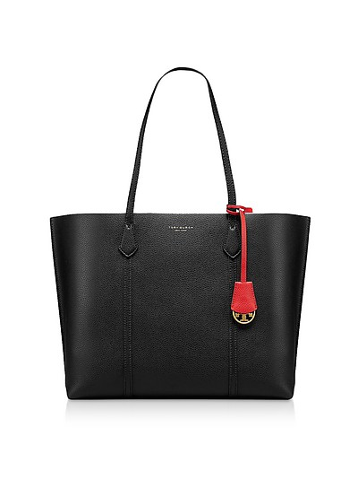Perry Triple-Compartment Shopper in Pelle Nera - Tory Burch
