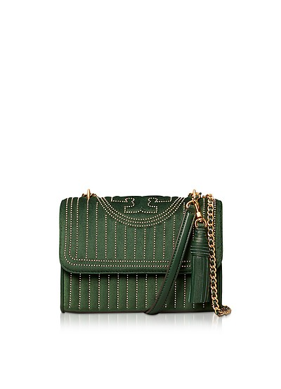 Fleming Small Borsa in Velluto Verde con Mini Borchie - Tory Burch
