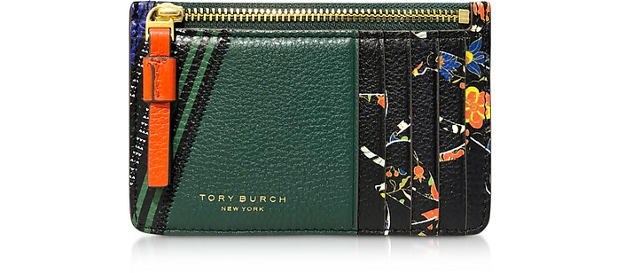 Floral Perry Mixed-Print Top-Zip Card Case - Tory Burch