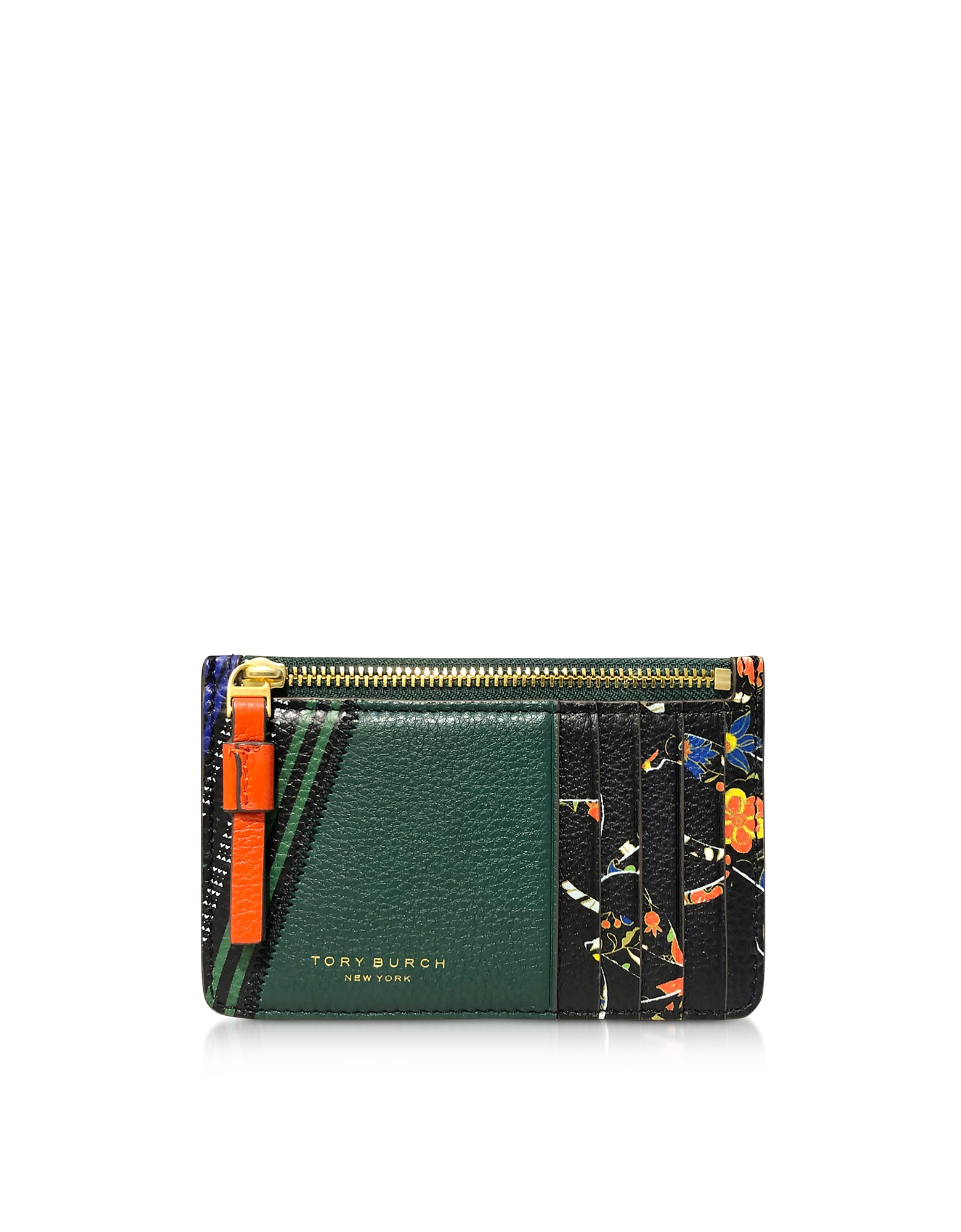 Tory Burch Tops FLORAL PERRY MIXED-PRINT TOP-ZIP CARD CASE