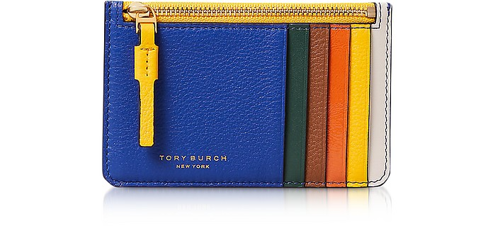 Nautical Blue& Malachite Perry Top-Zip Card Case - Tory Burch
