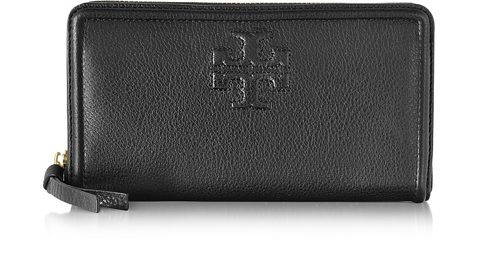 a61721edf5 Tory Burch Black Thea Pebbled Leather Multi Gusset Zip Continental ...