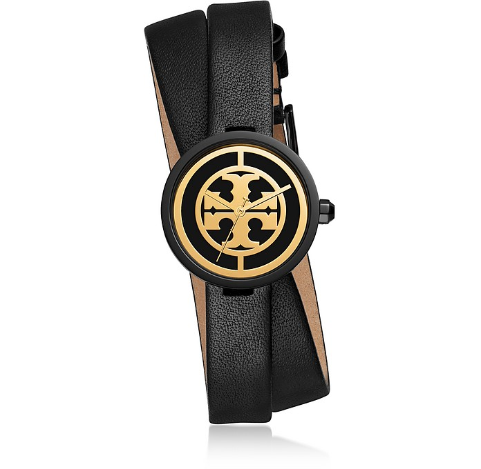 Reva Black Double Wrap Watch - Tory Burch