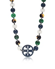 Malachite and Tory Navy Multi Resin Logo Long Necklace - Tory Burch