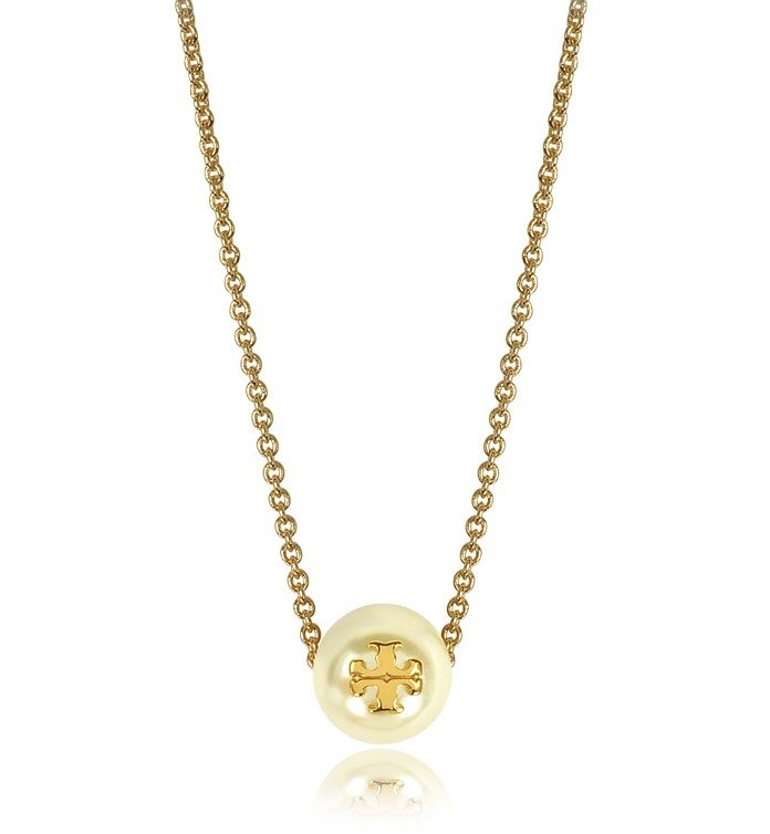 2dc54c9a17d89e Tory Burch Ivory Crystal Pearl Goldtone Brass Chain Necklace at FORZIERI