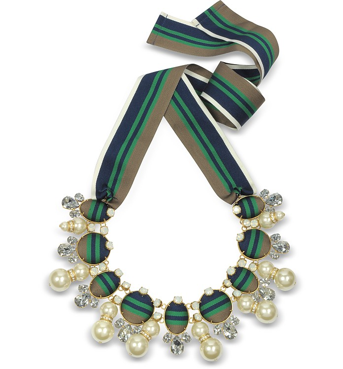 Vintage Gold w/Crystals and Glass Pearl Ribbon Necklace - Tory Burch