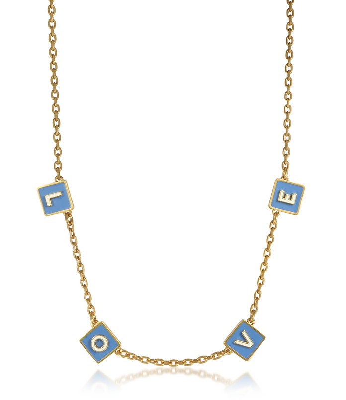 Sunny Blue/New Ivory Enamel and Vintage Gold Brass Message Choker Necklace - Tory Burch