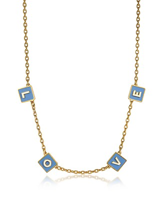 e8494c7b6dc0 Sunny Blue New Ivory Enamel and Vintage Gold Brass Message Choker Necklace  - Tory Burch