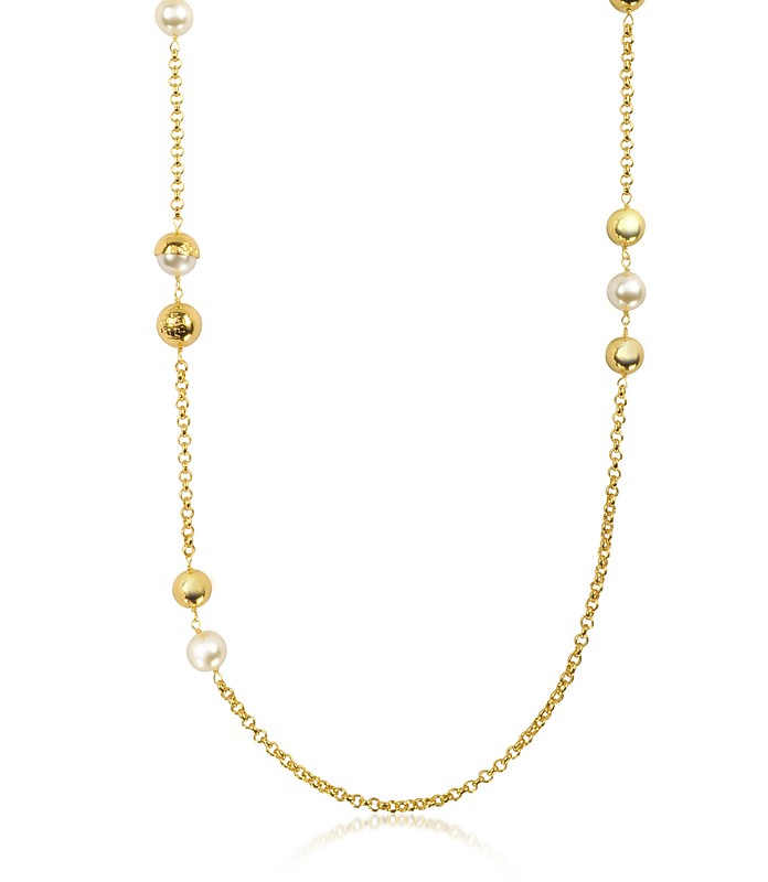 Capped Crystal Pearl Chain Rosary Necklace - Tory Burch