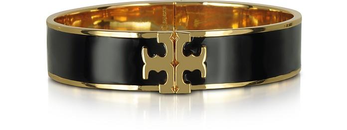 Raised Logo Black Enamel Thin Cuff Bracelet - Tory Burch