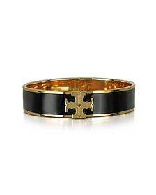 Raised Logo Black Enamel Thin Cuff Bracelet - Tory Burch